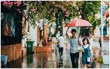 Giàn hoa giấy trong cơn mưa và khoảnh khắc dưới chiếc ô đẹp nhất tháng Mười