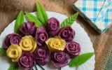 Bánh khoai hấp hình hoa hồng đẹp lung linh