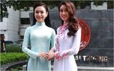 Hoa hậu Đỗ Mỹ Linh và người đẹp Ngọc Vân được chào đón khi về thăm trường
