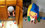 Hài hước với muôn vàn chiêu chơi trốn tìm của các bé