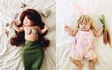 Ngủ quá say, bé gái 4 tháng tuổi được mẹ hóa trang thành những nhân vật siêu yêu