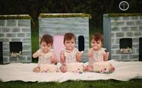 Bộ ảnh ngọt lịm tim của 3 bé sinh ba tự nhiên hiếm gặp trên thế giới