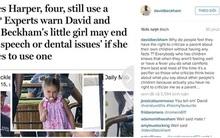 """David Beckham """"sửng cồ"""" khi bị chỉ trích cho con gái dùng ti giả"""