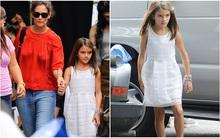 Suri mặc váy trắng xinh như công chúa đi thăm mẹ Katie Holmes