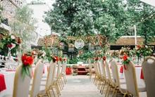 Cặp đôi Hà Thành trang trí tiệc cưới sân vườn với sắc đỏ đẹp như một giấc mơ về hạnh phúc