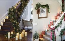 Ý tưởng trang trí cầu thang đơn giản mà lung linh để đón Giáng sinh đang tới gần
