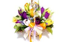 Giỏ hoa kẹo tulip ngọt ngào siêu đáng yêu trang trí nhà đón Tết