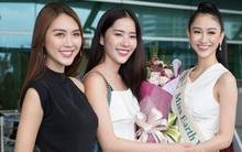 Hoa khôi Nam Em váy trắng giản dị khi đưa Hà Thu đi thi Hoa hậu Trái đất