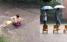Loạt ảnh các dân chơi trời bão: Mưa gió cũng không làm nhụt chí ra ngoài đường