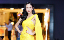 Diện váy vàng cắt xẻ, Á hậu Hà Thu khoe chân dài miên man