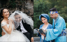 Phát sốt với hai góc ảnh đối lập của cô dâu Bắc Ninh và chàng rể Tây biết
