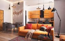 Không gian sống hiện đại với nội thất màu cam