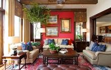 Sưởi ấm phòng khách với gam màu đỏ quyến rũ đón Noel về