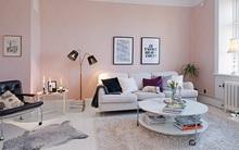 Blush pink cho phòng khách thêm tinh tế