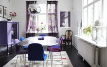 Thổi hồn cho phòng ăn bằng gam màu tím đẹp đến khó cưỡng