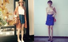 Học cách kết hợp ấn tượng với chân váy denim cài cúc như Sao Việt