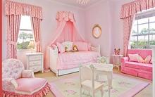 Mẫu phòng ngủ màu hồng đẹp như cổ tích cho bé gái