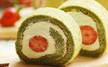 Thơm mát mềm mịn món bánh bông lan cuộn trà xanh