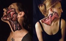 Chàng trai vẽ các bộ phận phức tạp trên cơ thể