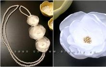 Tự làm vòng cổ ngọc trai đính hoa voan trắng cực điệu!
