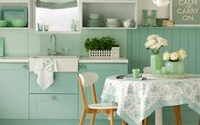 Góc bếp đẹp hơn với sắc xanh tươi mát