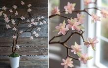 Tự làm cành hoa anh đào trang trí nhà dịp Tết