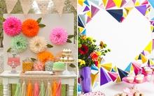 2 cách trang trí tiệc đẹp lung linh chỉ bằng giấy màu