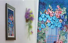 Làm tranh hoa vải cực nghệ thuật trang trí nhà mình