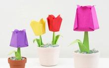 Tự chế chậu hoa tulip giấy nhỏ xinh theo phong cách Origami