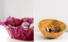 Làm bát đựng đồ độc đáo từ hoa giấy và giấy lọc trà