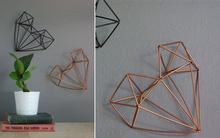 Biến ống hút thành trái tim 3D trang trí tường đẹp lạ