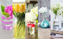 5 cách tái chế chai lọ cũ thành bình cắm hoa đẹp lung linh