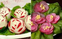Mách bạn thêm 2 cách cắt tỉa củ cải đỏ trang trí đĩa đẹp