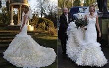 Chiếc váy cưới độc đáo làm từ 22.000 chiếc lông ngỗng