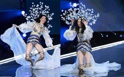 """Victoria's Secret Fashion Show 2017: Ming Xi bất ngờ ngã """"sấp mặt"""" khi đang trình diễn"""