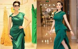Dù gấp đôi tuổi Hoa hậu Kỳ Duyên, nhưng ca sĩ Thu Phương vẫn rất tự tin khi diện cùng một thiết kế váy này