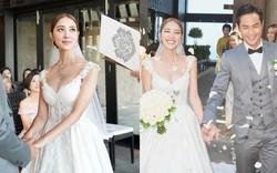 Tài tử TVB kết hôn nhưng điều đáng chú ý chính là nhan sắc tựa nữ thần cùng váy cưới lộng lẫy của cô vợ kém 22 tuổi