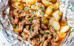 Thịt bò nướng khoai tây làm cực nhanh ăn cực ngon