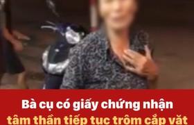 Bà cụ có giấy chứng nhận tâm thần tiếp tục trộm cắp vặt sau khi bị phát giác ở Hà Nội