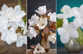 3 cách làm hoa giấy sắc trắng tinh khôi trang trí nhà đẹp tinh tế