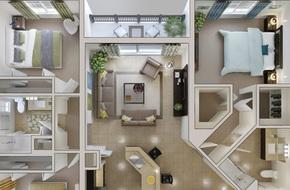 10 mẫu căn hộ 3 phòng ngủ đẹp, dễ ứng dụng cho những gia đình nhiều thế hệ cùng chung sống