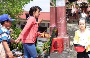 Nắng gay gắt, nhiều bà mẹ Sài Gòn vẫn dẫn con đi chùa cầu an ngày Phật Đản