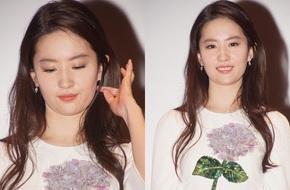 Lưu Diệc Phi diện váy trắng đơn giản, vô tình để lộ mặt kém thon gọn