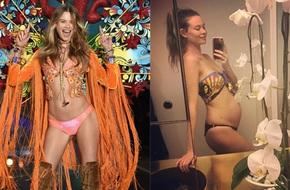 Vừa nhận diễn show Victoria's Secret 2017, Behati lại phải xin nghỉ vì bụng bầu đã vượt mặt