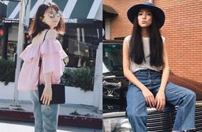 Street style châu Á: người áo thun đơn giản, người bèo nhún điệu đà