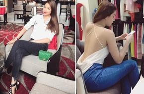 Ngọc Trinh khoe lưng trần mướt mắt ai nhìn cũng mê, Phạm Hương lại trung thành với style 'kín bưng' suốt tuần qua