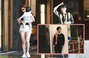 Trần Nghiên Hy ôm con trai nhỏ theo sát bên chồng đến nơi làm việc