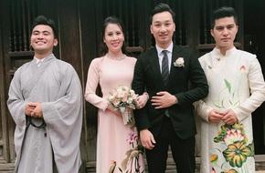 MC Thành Trung và vợ diện áo dài làm lễ Hằng thuận tại chùa