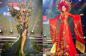 Huyền My tiếp tục giữ vị trí thứ 2 trong phần thi trang phục dân tộc Miss Grand International 2017