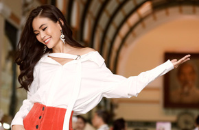 Mâu Thủy điệu đà thả dáng trên phố sau khi bị chê vì sợ độ cao ở Hoa hậu Hoàn vũ